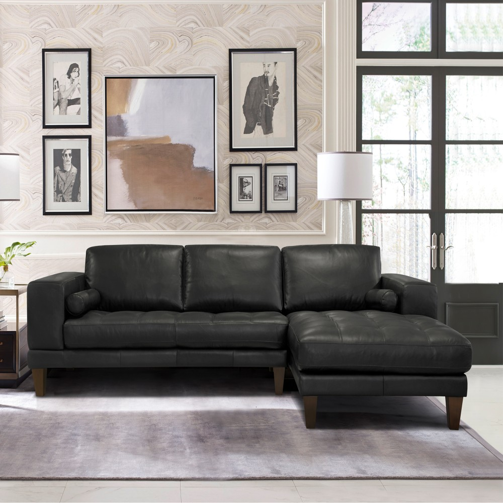 Armen Living Contemporary Sectional Genuine Black Leather Brown Wood Legs