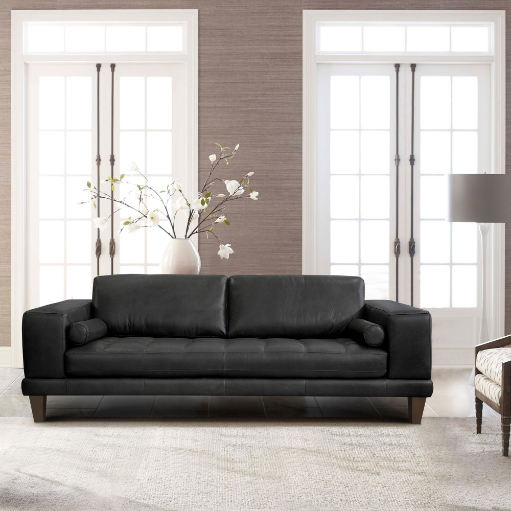 Armen Living Contemporary Sofa Genuine Black Leather Brown Wood Legs