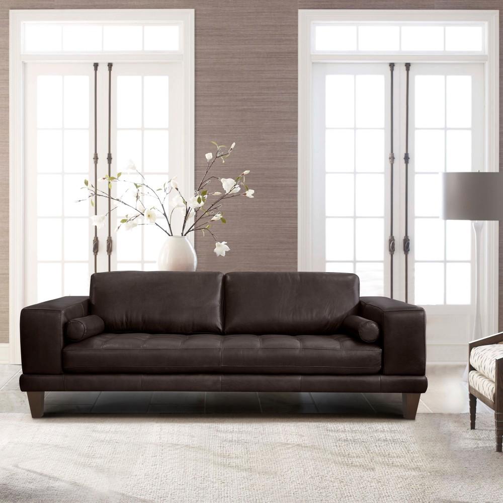 Armen Living Contemporary Sofa Genuine Espresso Leather Brown Wood Legs