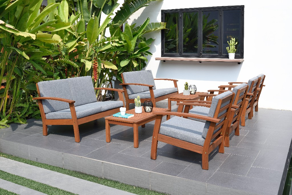 International Home Patio Conversation Set Durable Teak Comfortable