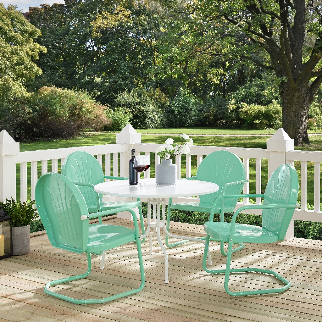 Griffith Metal Five Outdoor Dining Set Dining Table White Aqua Chairs