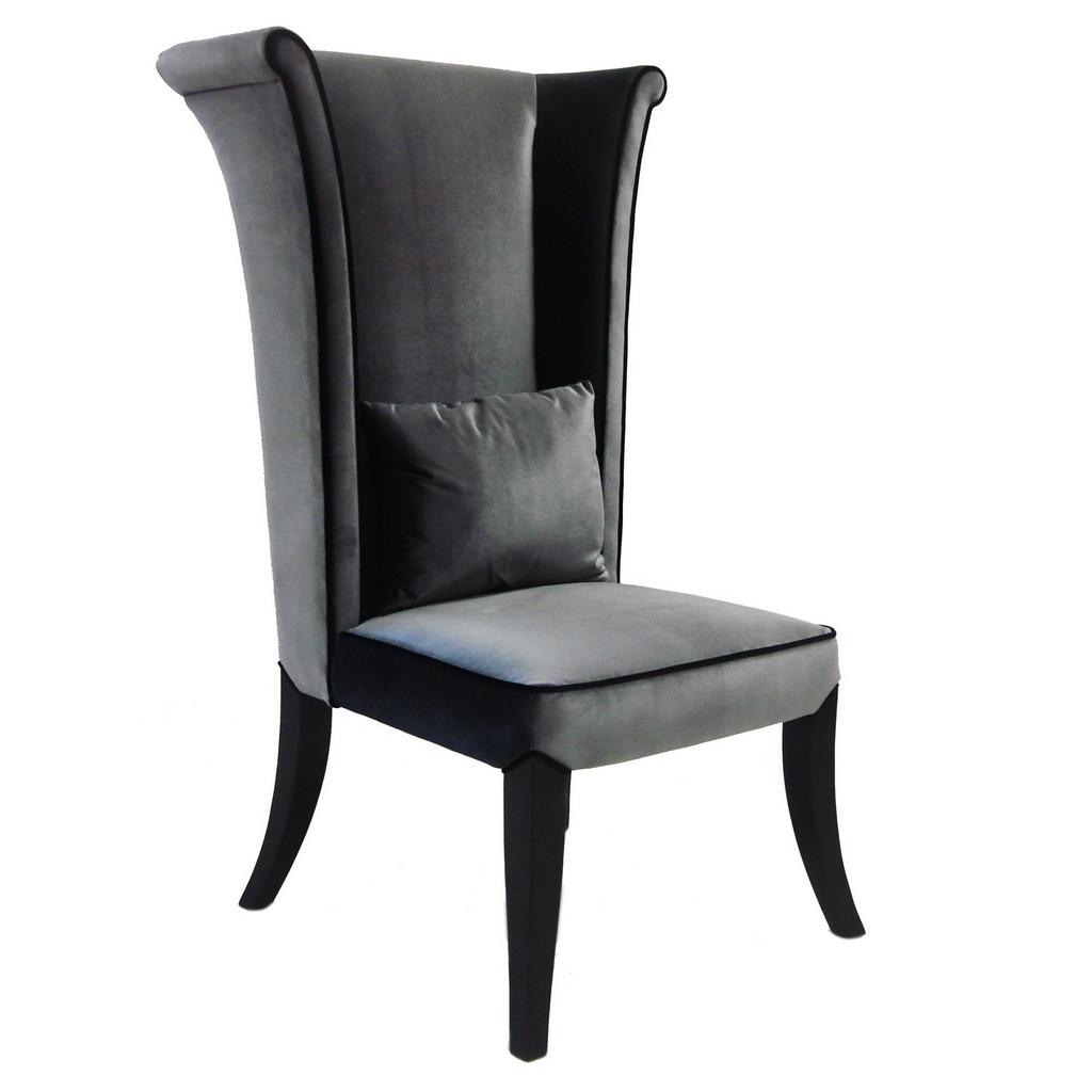 Armen Living Mad Hatter Dining Chair In Gray Rich Velvet - Armen Living LC847SIGR