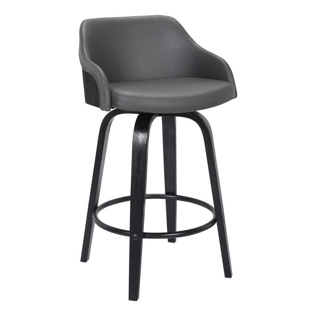 """Alec Contemporary 30""""Bar HeightSwivel Barstool in Black Brush Wood Finish and Grey Faux Leather - Armen Living LCAEBABLGR30"""