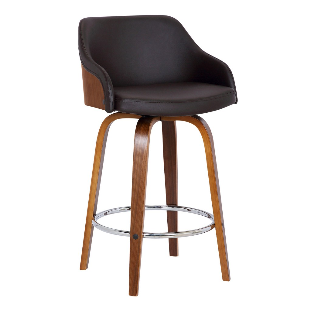"""Alec Contemporary 26"""" Counter HeightSwivel Barstool in Walnut Wood Finish and Brown Faux Leather - Armen Living LCAEBAWABR26"""
