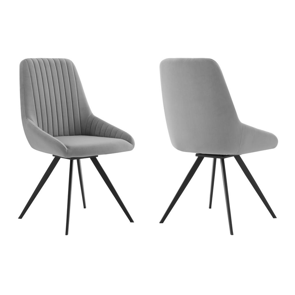 Alison Swivel Gray Velvet and Metal Dining Room Chairs - Set of 2 - Armen Living LCAISIGR