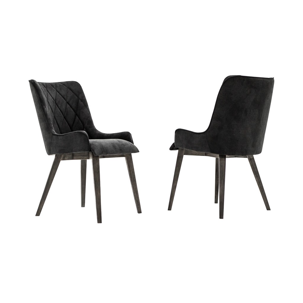 Alana Midnight Upholstered Dining Chair - Set of 2 - Armen Living LCALCHTGMN