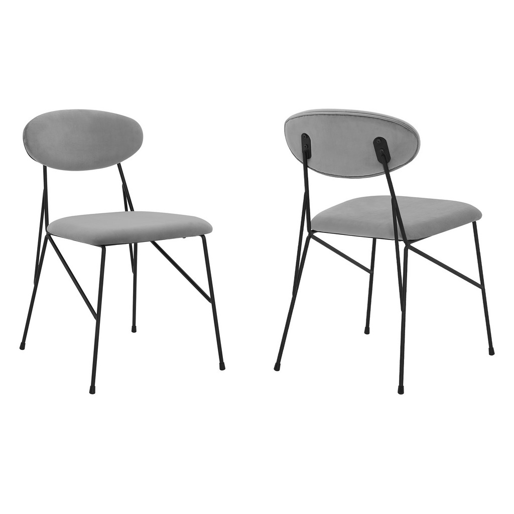 Alice Grey Velvet and Metal Dining Room Chairs - Set of 2 - Armen Living LCALSIBLGR