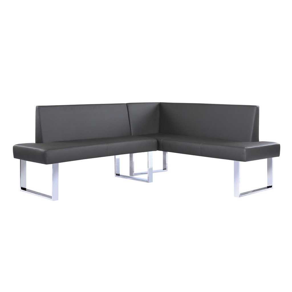 Contemporary Nook Corner Dining Bench Gray Faux Leather Chrome