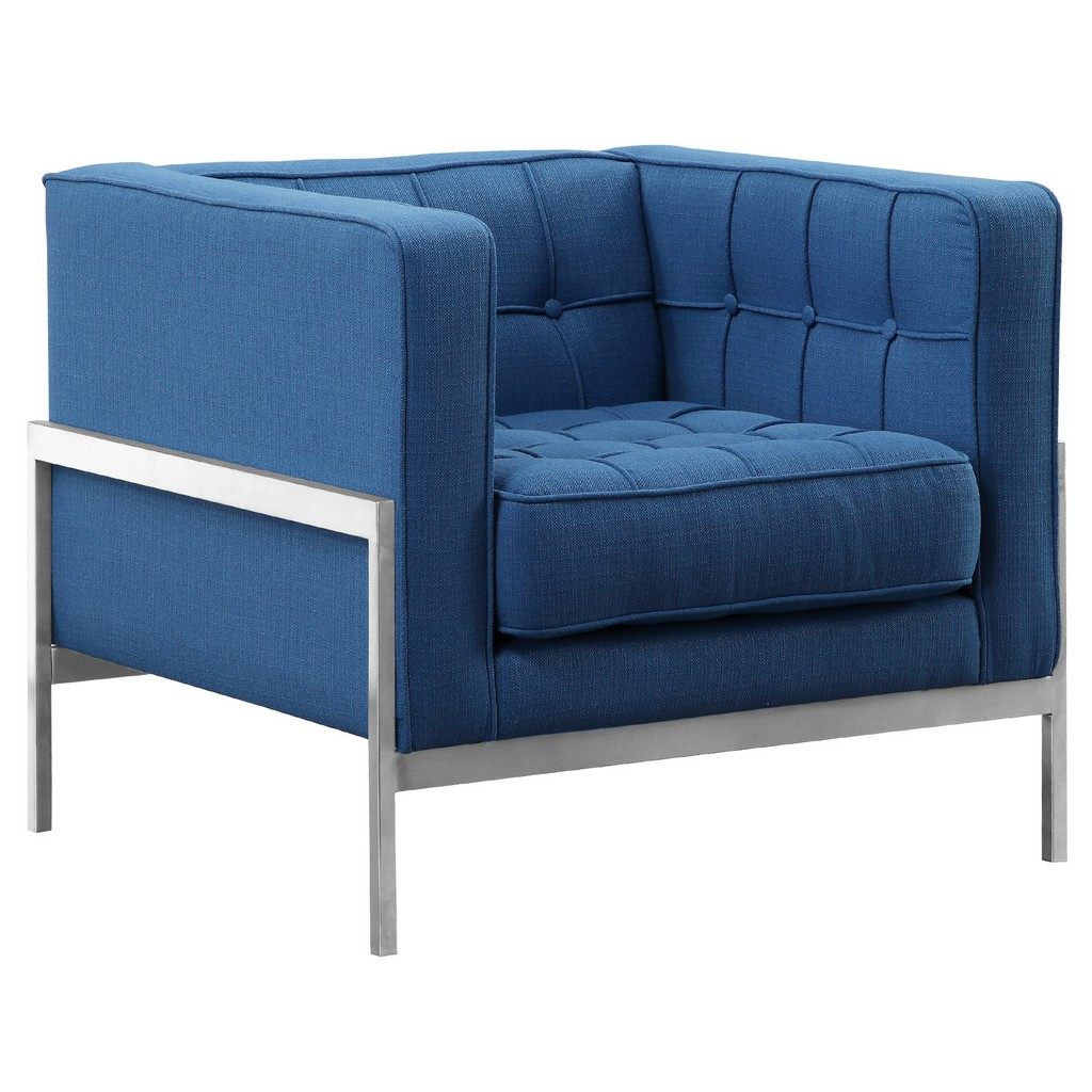 Armen Living Andre Contemporary Sofa Chair in Brushed Stainless Steel and Blue Fabric - Armen Living LCAN1BLUE