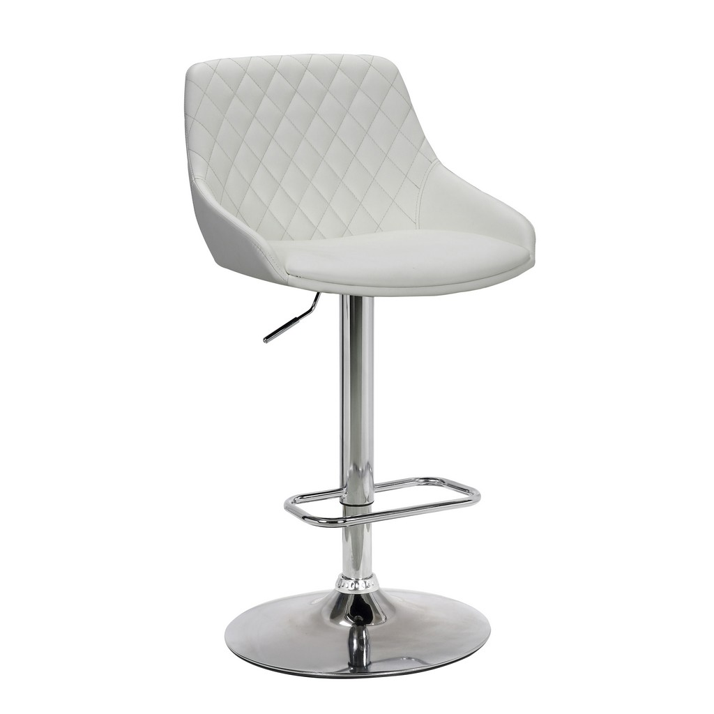 Anibal Contemporary Adjustable Barstool in Chrome Finish and White Faux Leather - Armen Living LCANSWBAWH