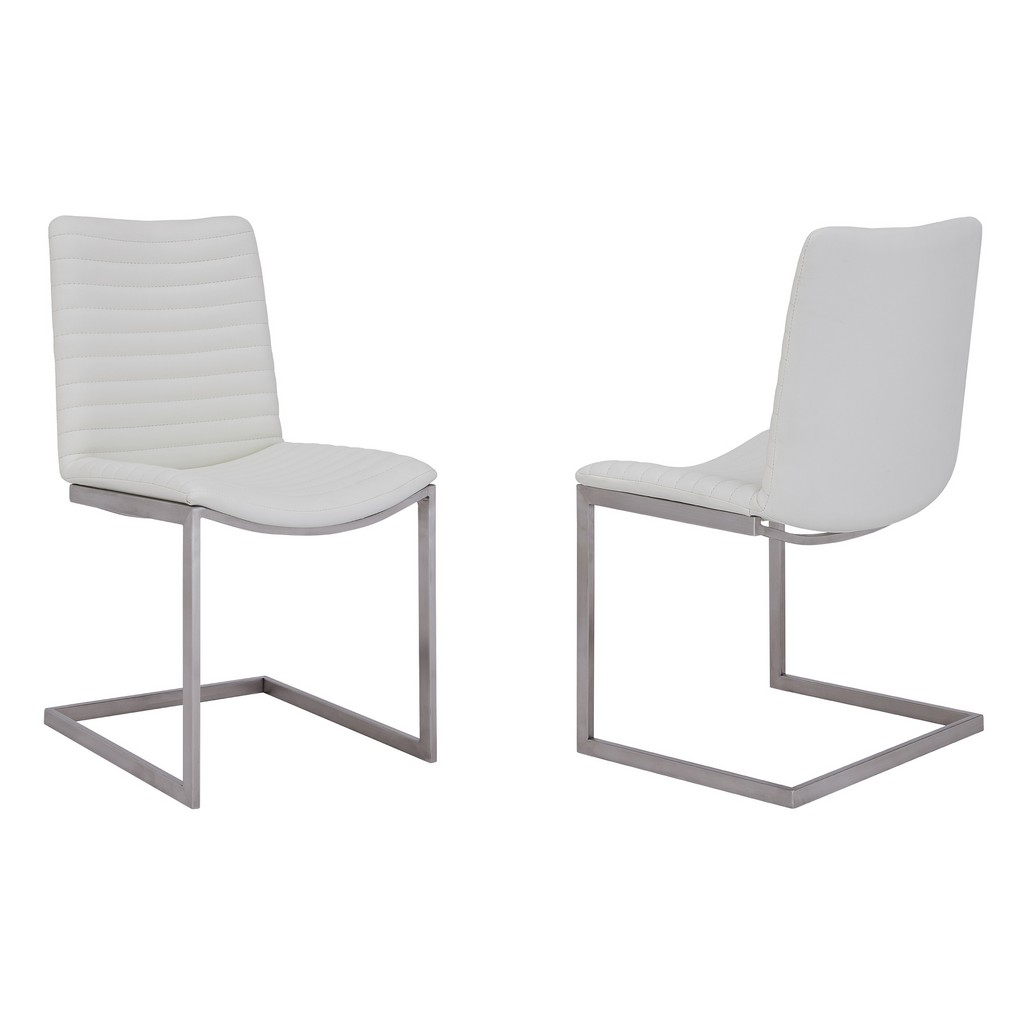 April Contemporary Dining Chair in Brushed Stainless Steel Finish and White Faux Leather - Set of 2 - Armen Living LCAPSIBSWH