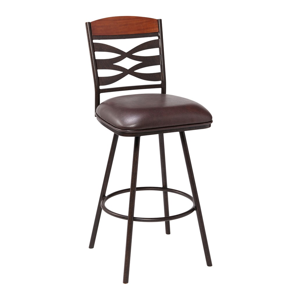 """Arden Contemporary 30"""" Bar Height Barstool in Auburn Bay Finish with Brown Faux Leather and Sedona Wood Finish Back - Armen Living LCARBAABBR30"""