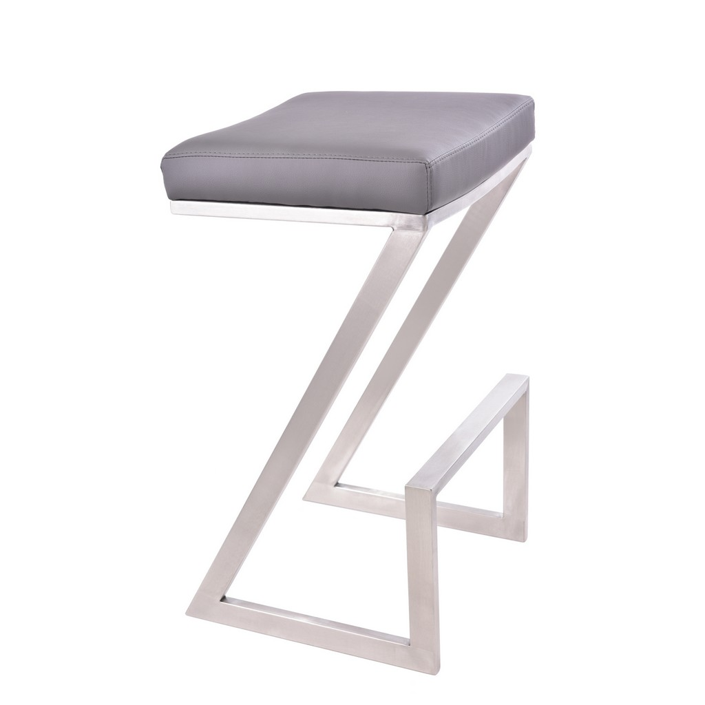 """Armen Living Atlantis 26"""" Counter Height Backless Barstool in Brushed Stainless Steel finish with Grey Faux Leather - Armen Living LCAT26BAGR"""