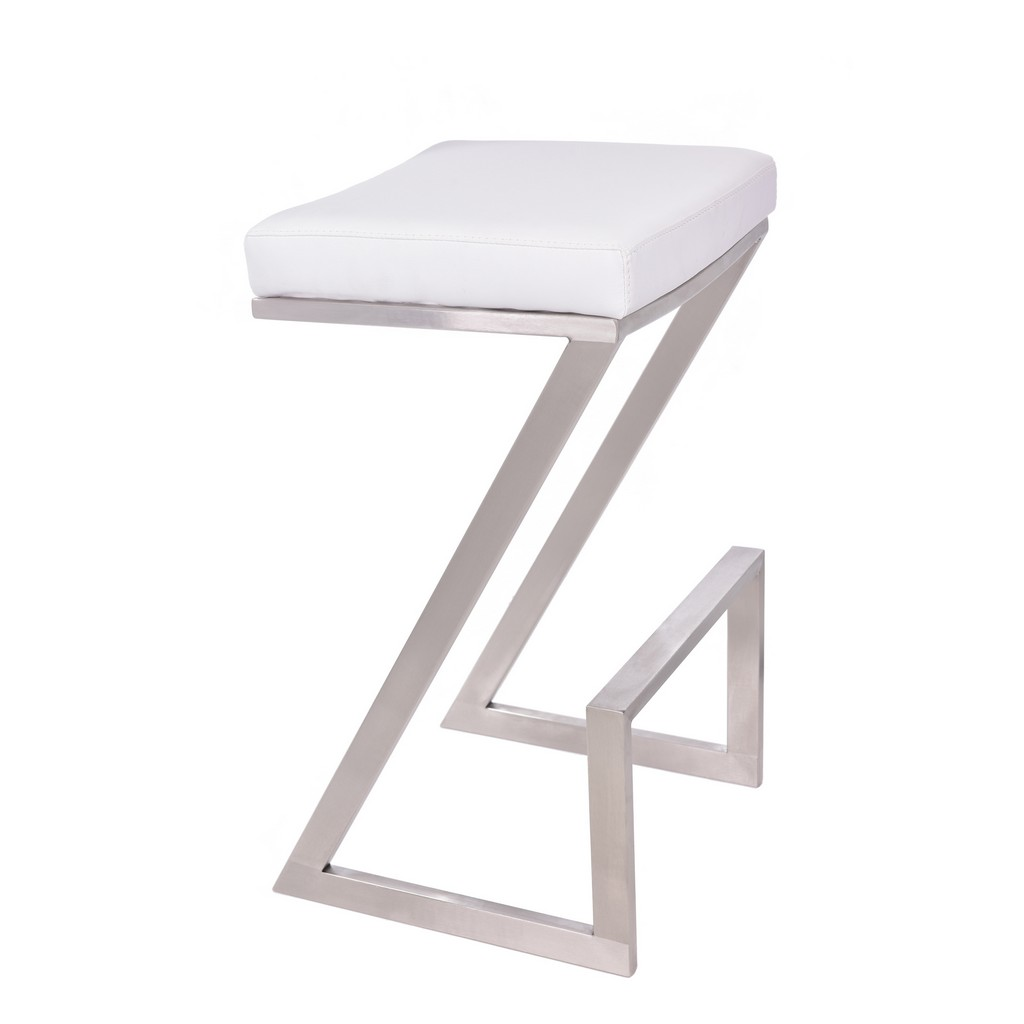 """Armen Living Atlantis 26"""" Counter Height Backless Barstool in Brushed Stainless Steel finish with White Faux Leather - Armen Living LCAT26BAWH"""