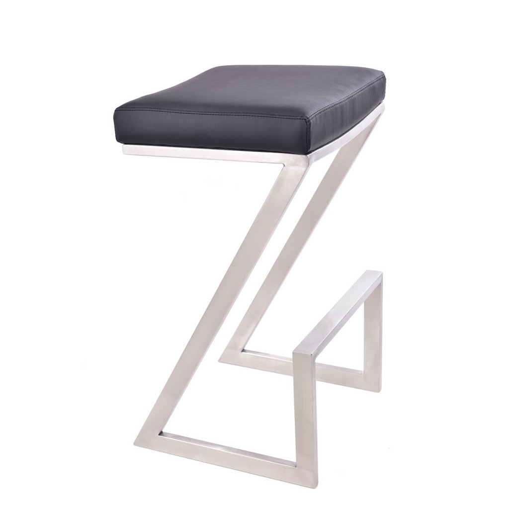 """Armen Living Atlantis 30"""" Bar Height Backless Barstool in Brushed Stainless Steel finish with Black Faux Leather - Armen Living LCAT30BABLK"""