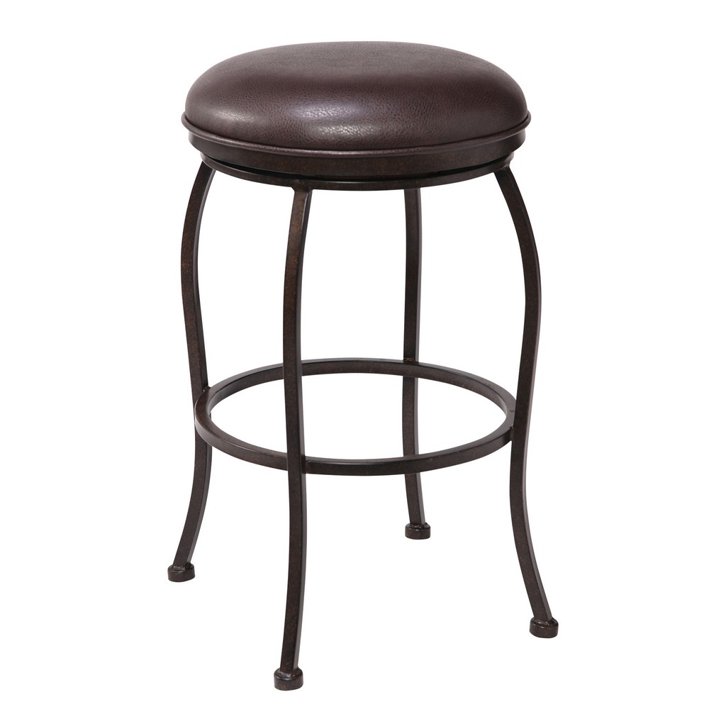 """Amy Contemporary 26"""" Counter Height Barstool in Auburn Bay Finish and Brown Faux Leather - Armen Living LCAYBAABBR26"""