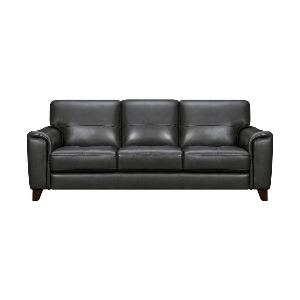 Armen Living Bergen Pewter Genuine Leather Square Arm Sofa