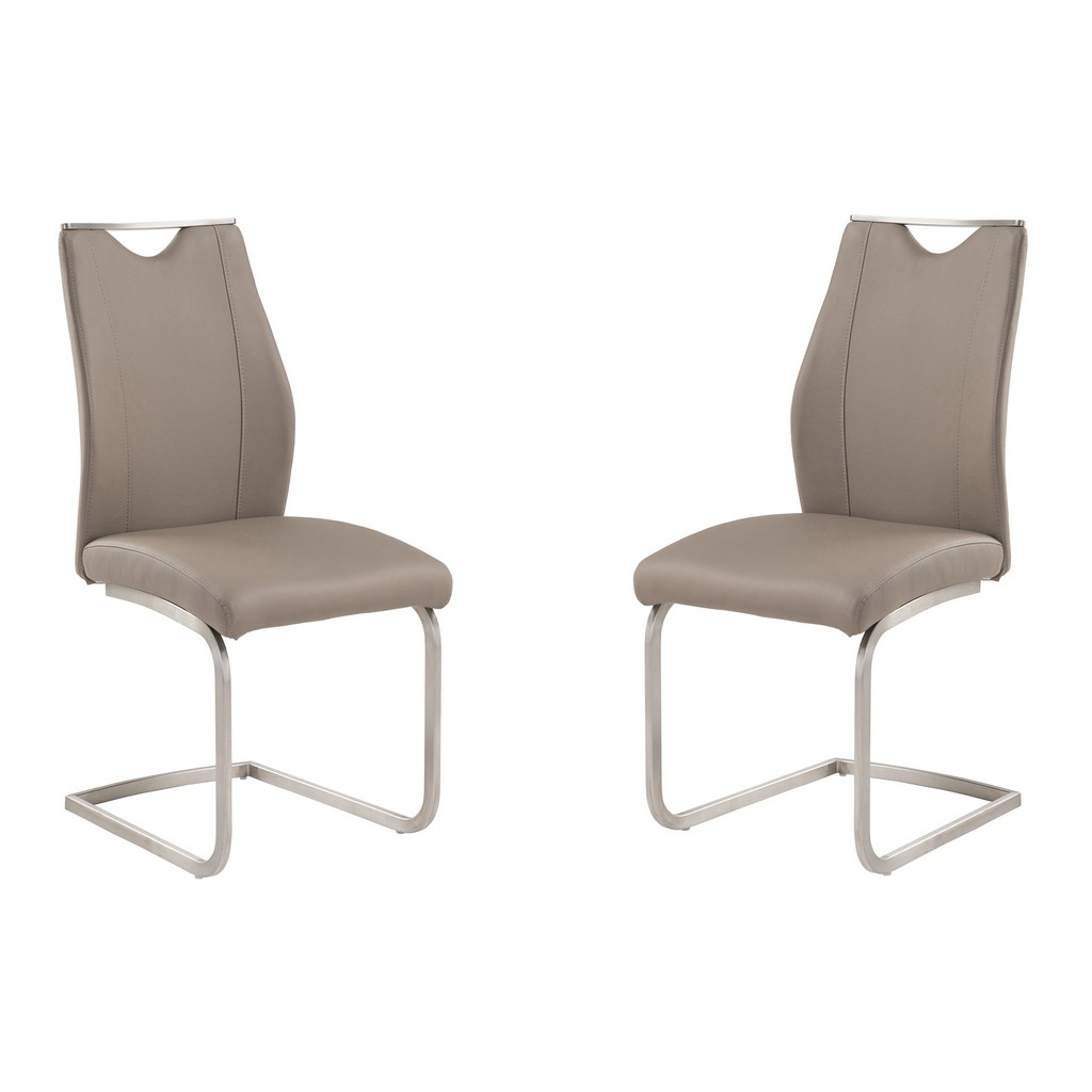 Armen Living Bravo Contemporary Dining Chair In Coffee Faux Leather and Brushed Stainless Steel Finish - Set of 2 - Armen Living LCBRSICF