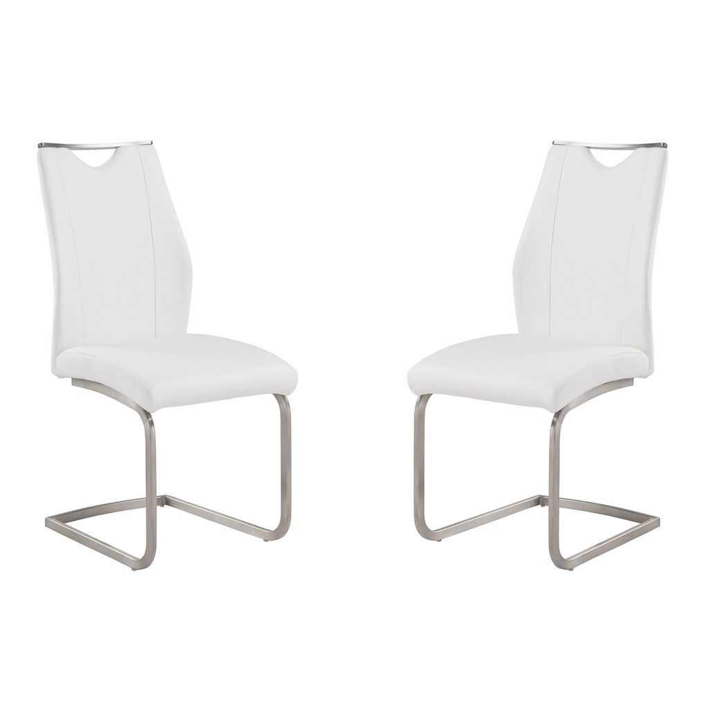 Armen Living Bravo Contemporary Dining Chair In White Faux Leather and Brushed Stainless Steel Finish - Set of 2 - Armen Living LCBRSIWH