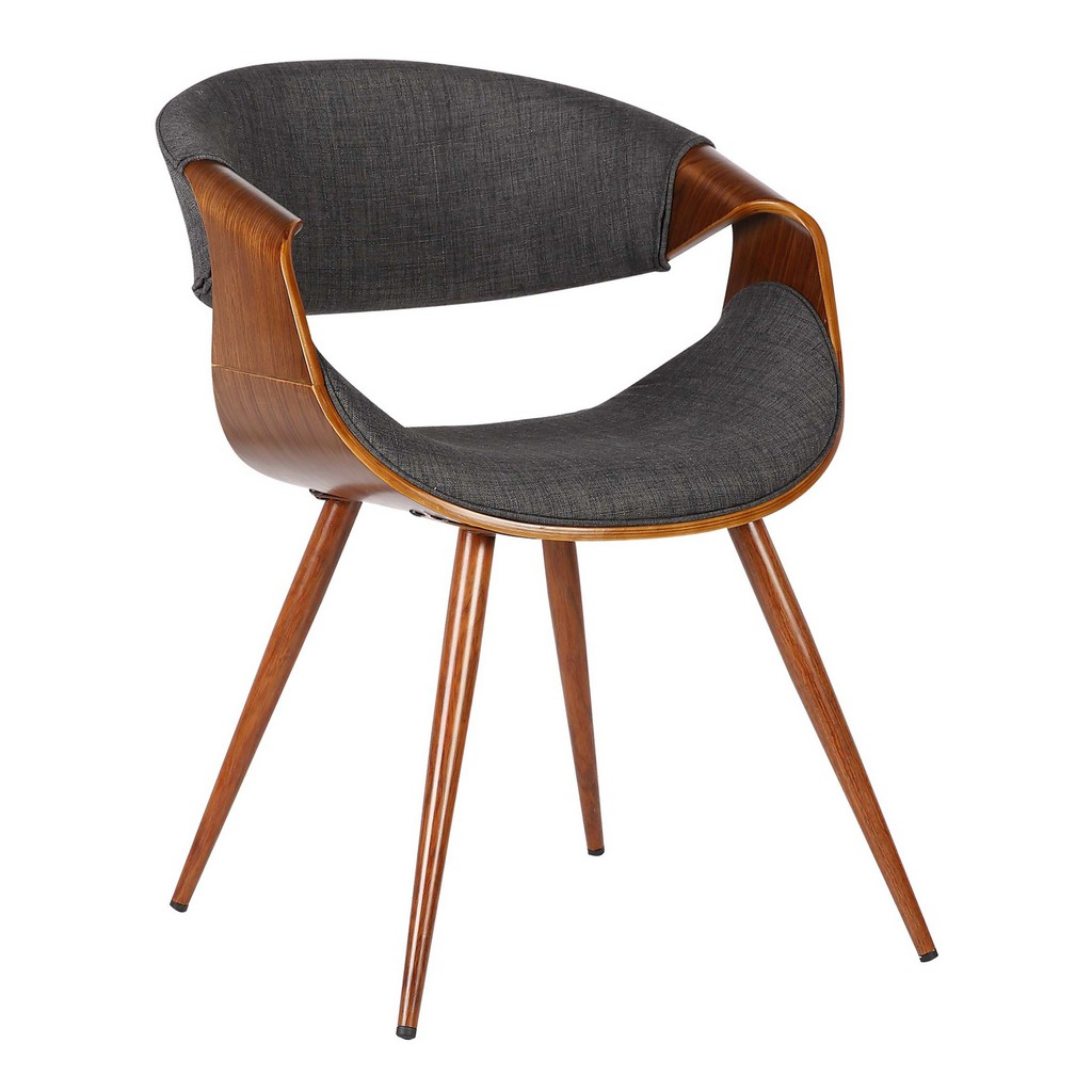 Armen Living Butterfly Mid-Century Dining Chair in Walnut Finish and Charcoal Fabric - Armen Living LCBUCHWACH