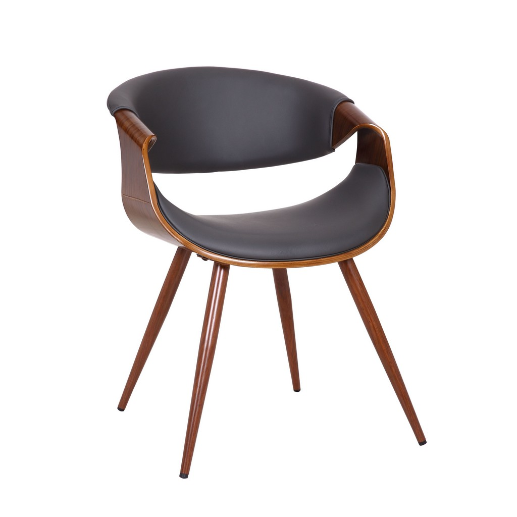 Butterfly Mid-Century Dining Chair in Walnut Finish and Gray Fabric - Armen Living LCBUCHWAGREY