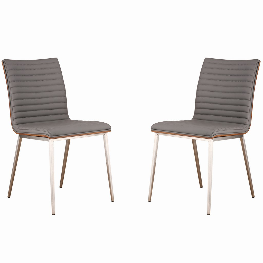 Armen Living Café Brushed Stainless Steel Dining Chair in Gray Faux Leather with Walnut Back - Set of 2 - Armen Living LCCACHGRB201