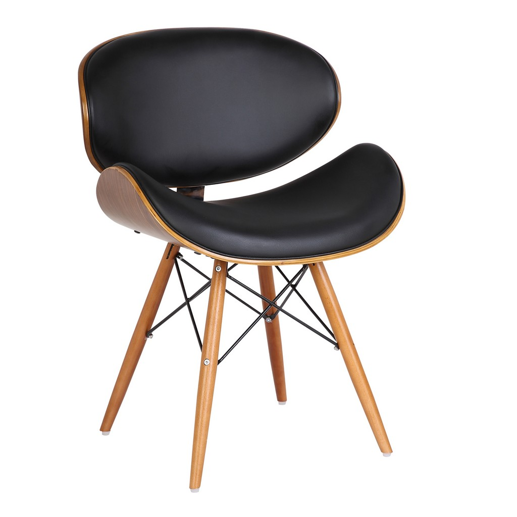 Armen Living Cassie Mid-Century Dining Chair in Walnut Wood and Black Faux Leather - Armen Living LCCASIWABL