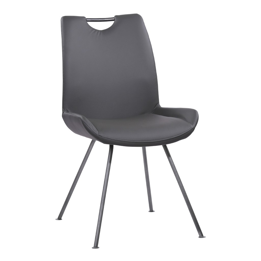 Armen Living Coronado Contemporary Dining Chair in Grey Powder Coated Finish and Grey Faux Leather - Set of 2 - Armen Living LCCDSIGR