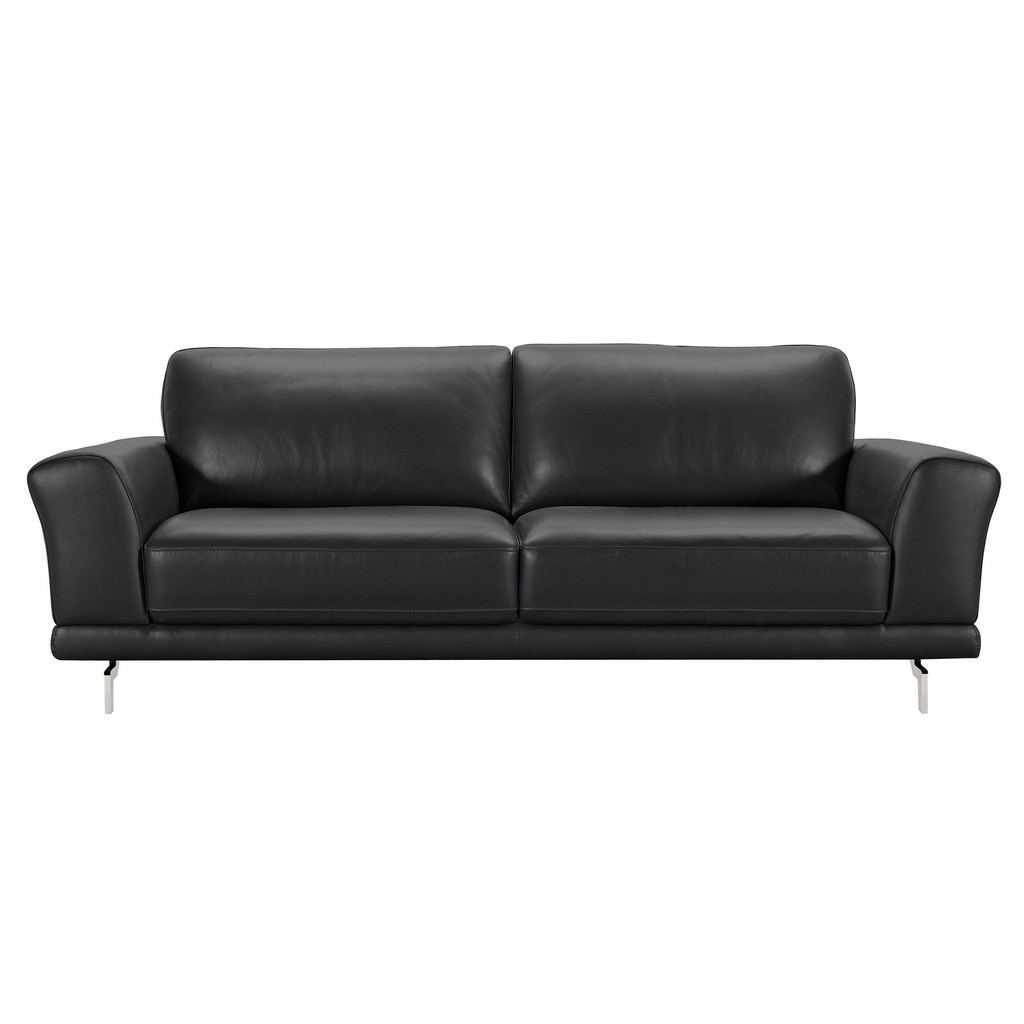 Armen Living Everly Contemporary Sofa in Genuine Black Leather with Brushed Stainless Steel Legs - Armen Living LCEV3BL