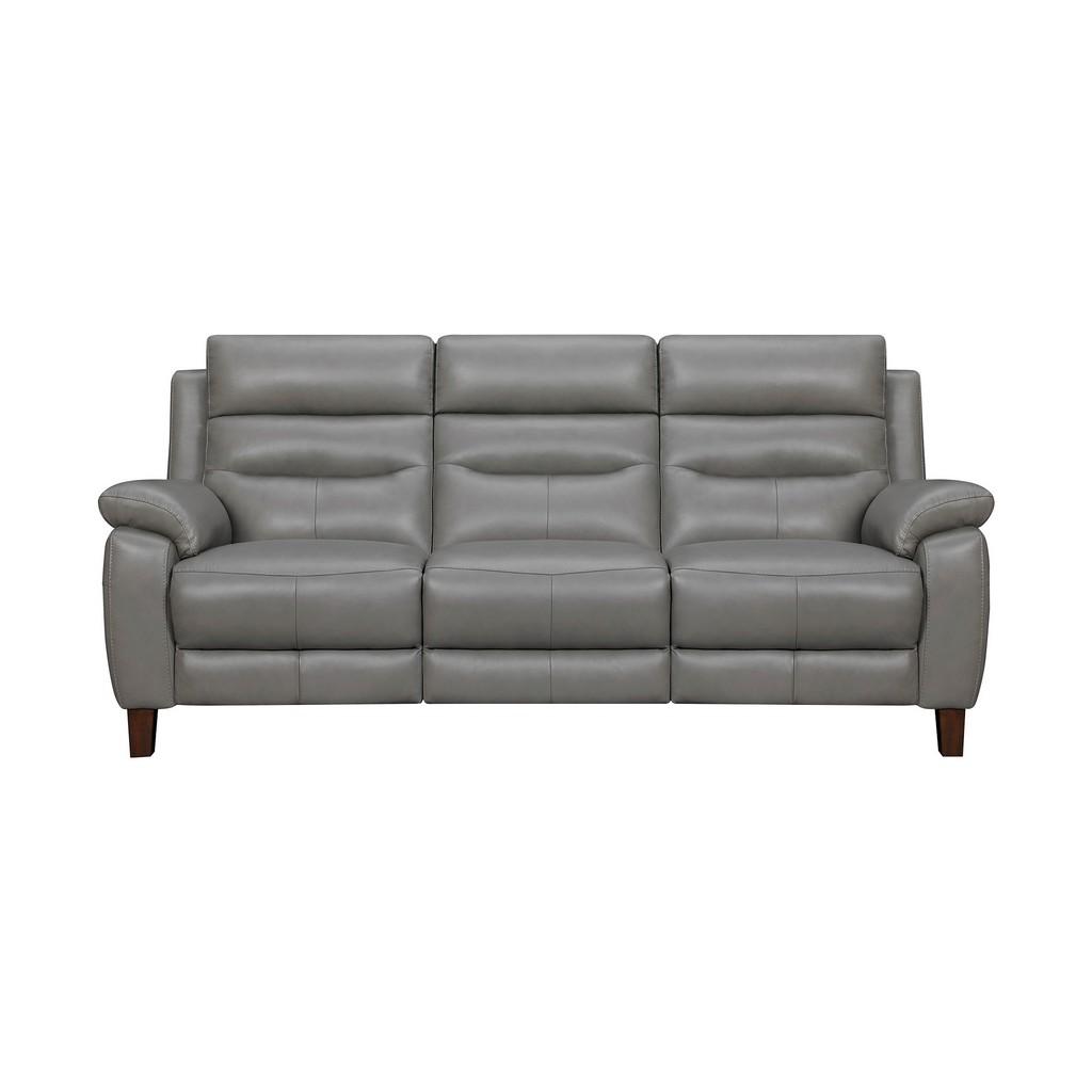 Armen Living Hayward Gray Genuine Leather Power Reclining Sofa