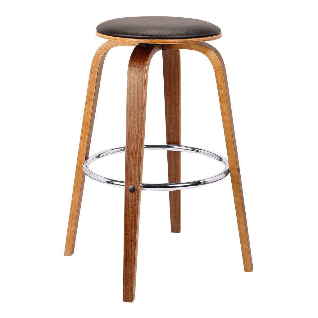 """Armen Living Harbor 26"""" Mid-Century Swivel Counter Height Backless Barstool in Brown Faux Leather with Walnut Veneer - Armen Living LCHBBABRWA26"""