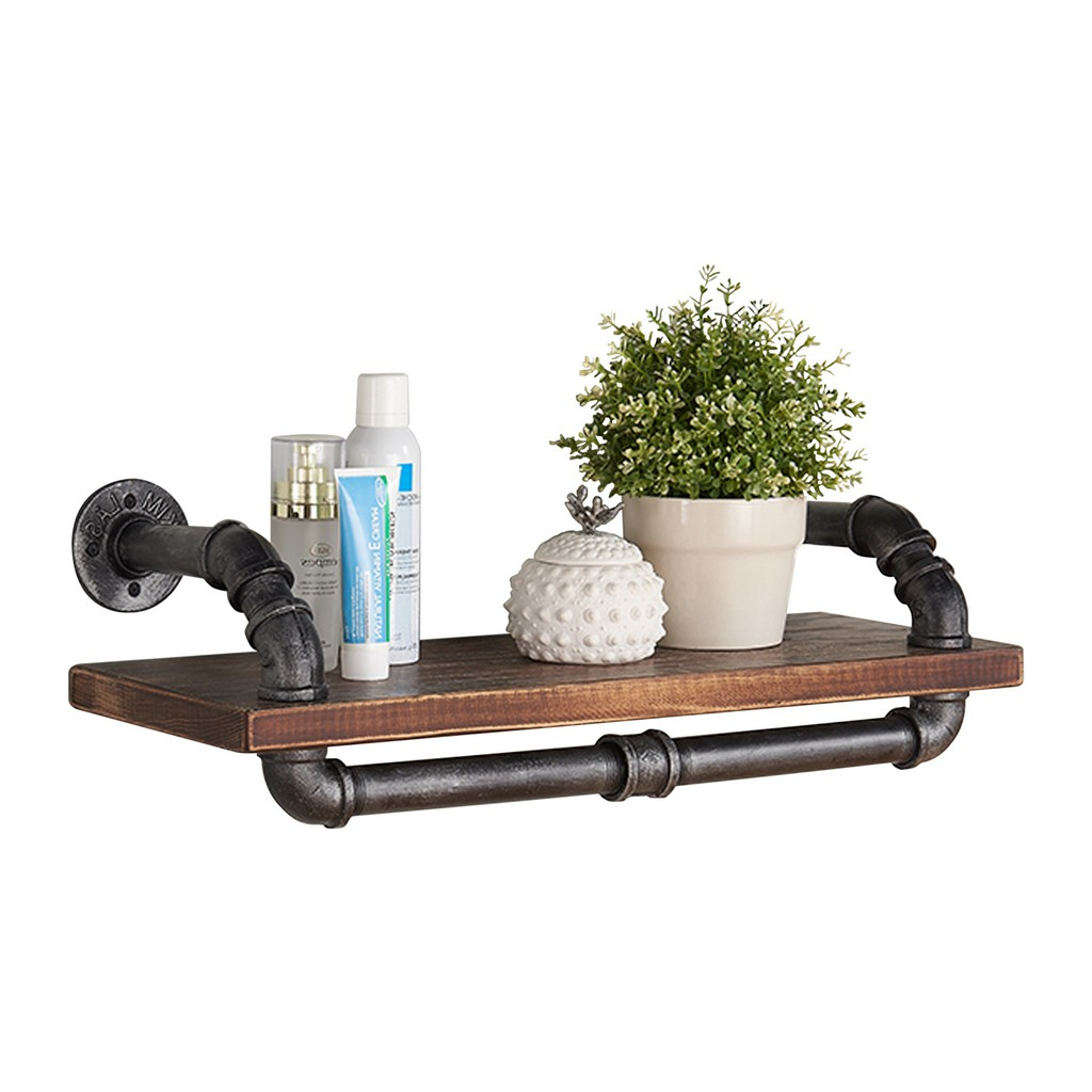 """Armen Living 24"""" Isadore Industrial Pine Wood Floating Wall Shelf in Gray and Walnut Finish - Armen Living LCISSH24"""