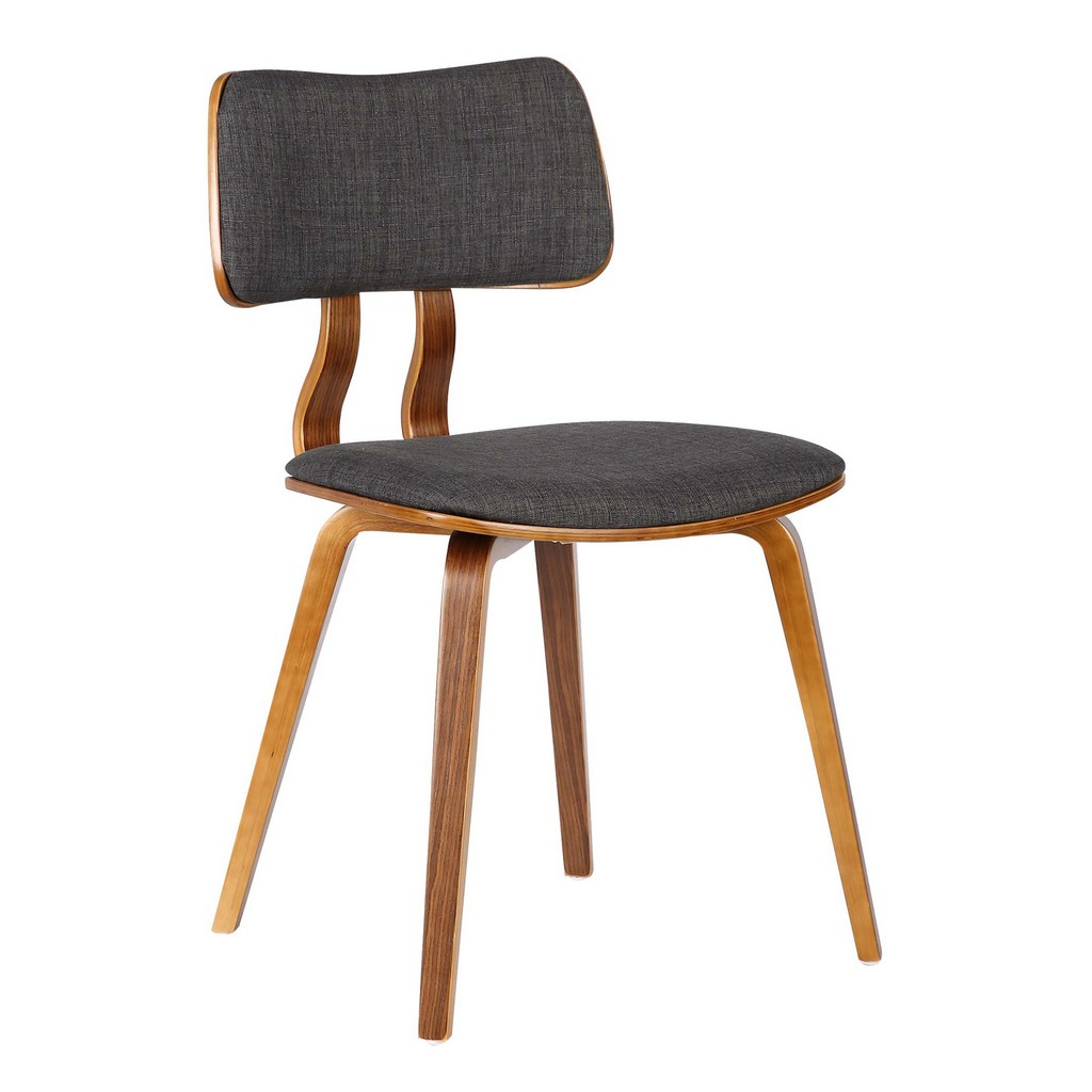 Armen Living Jaguar Mid-Century Dining Chair in Walnut Wood and Charcoal Fabric - Armen Living LCJASIWACH