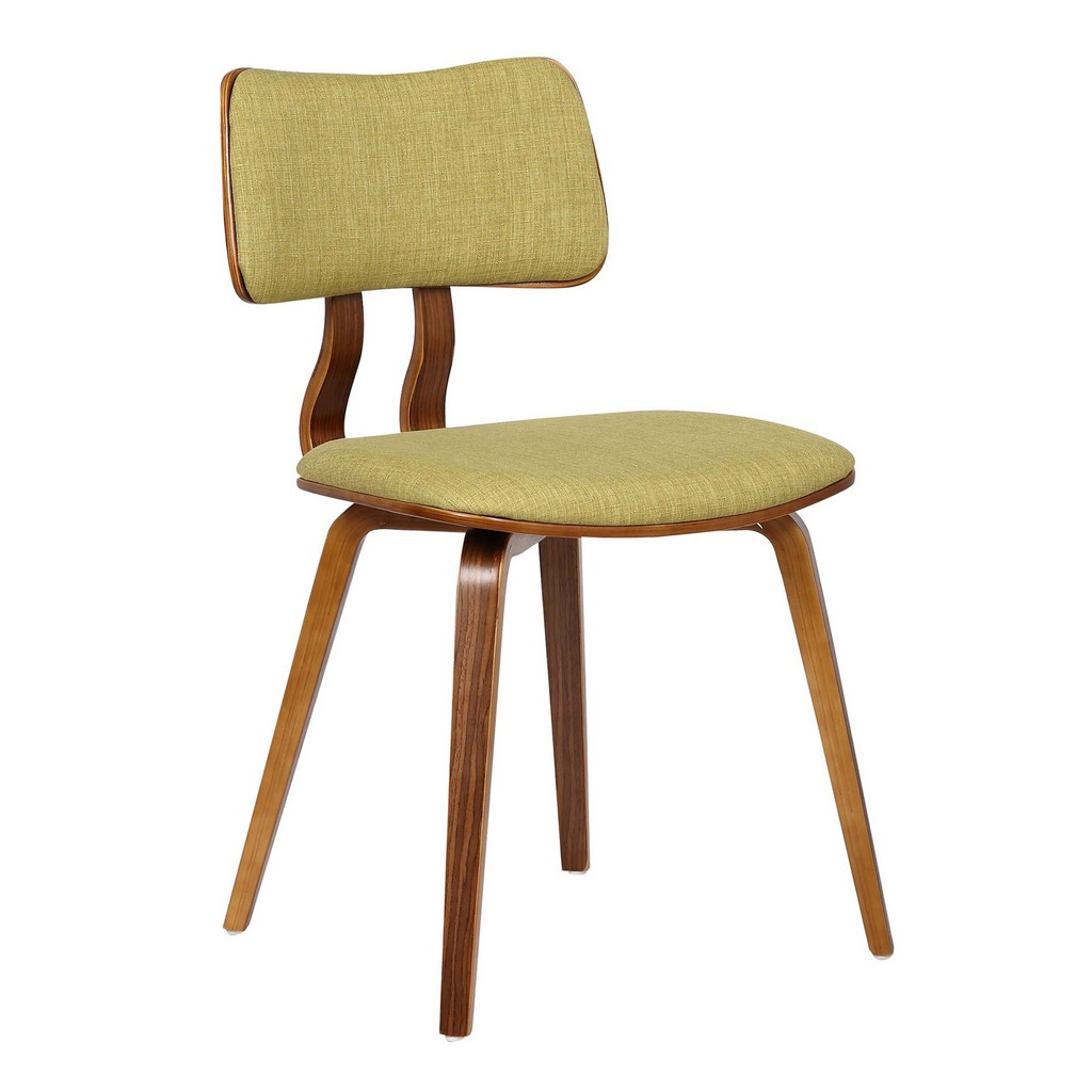 Armen Living Jaguar Mid-Century Dining Chair in Walnut Wood and Green Fabric - Armen Living LCJASIWAGREEN