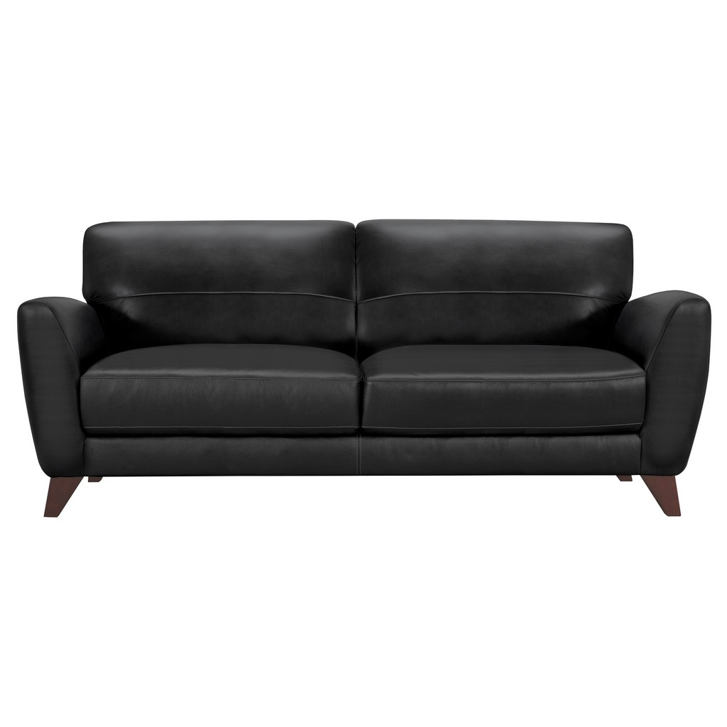 Armen Living Jedd Contemporary Sofa in Genuine Black Leather with Brown Wood Legs - Armen Living LCJD3BL