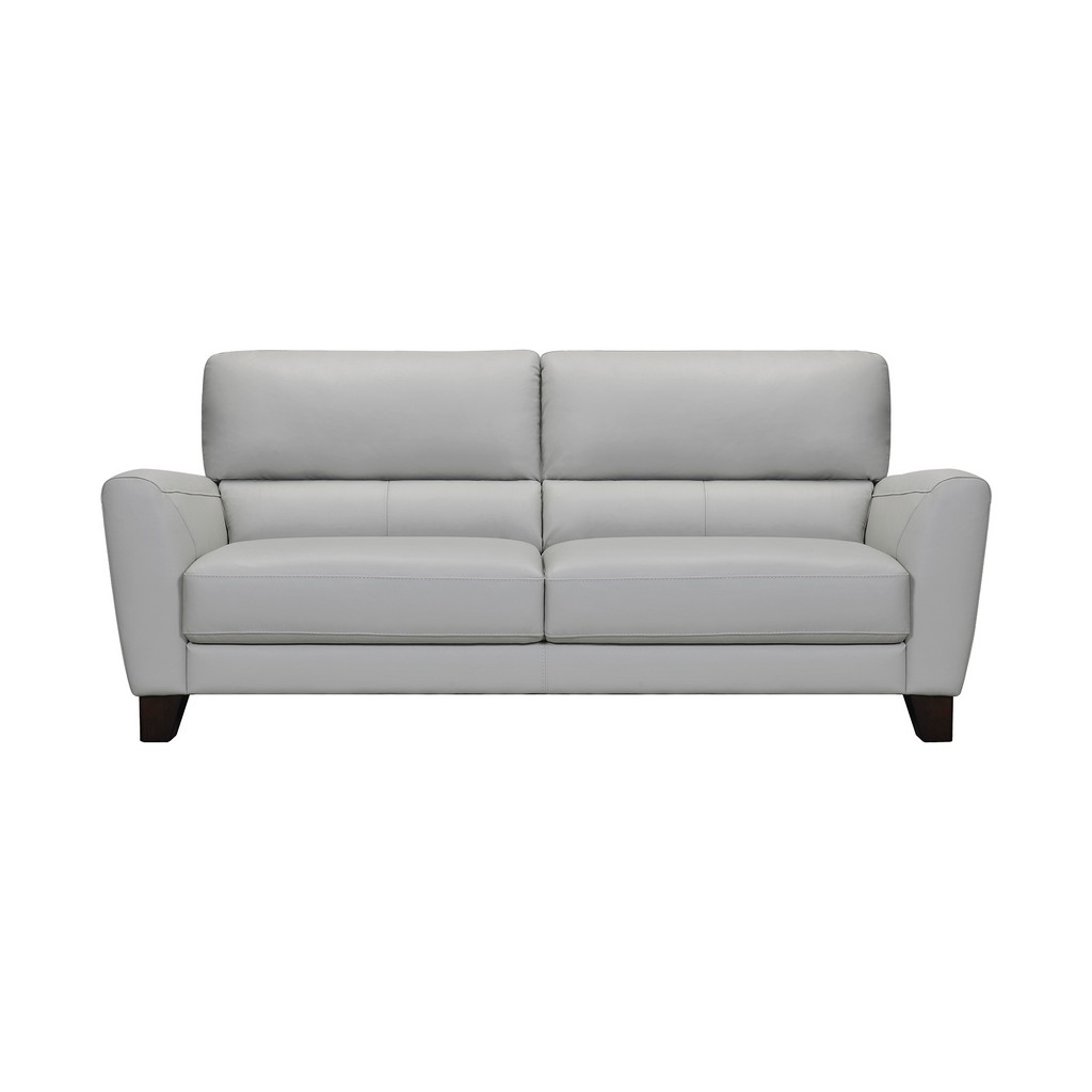 Armen Living Kester Square Arm Dove Gray Genuine Leather Sofa