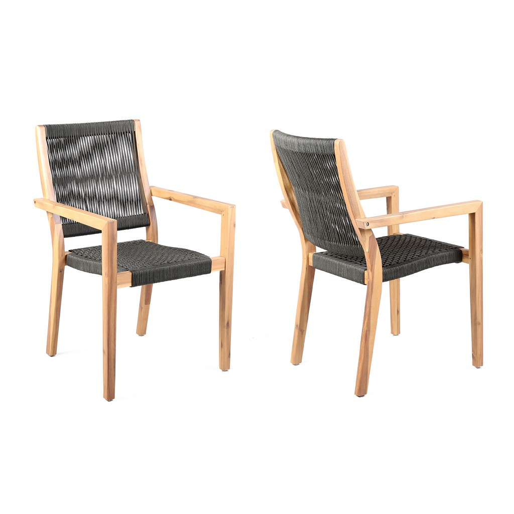 Armen Living Madsen Outdoor Eucalyptus Wood Charcoal Rope Dining Chairs