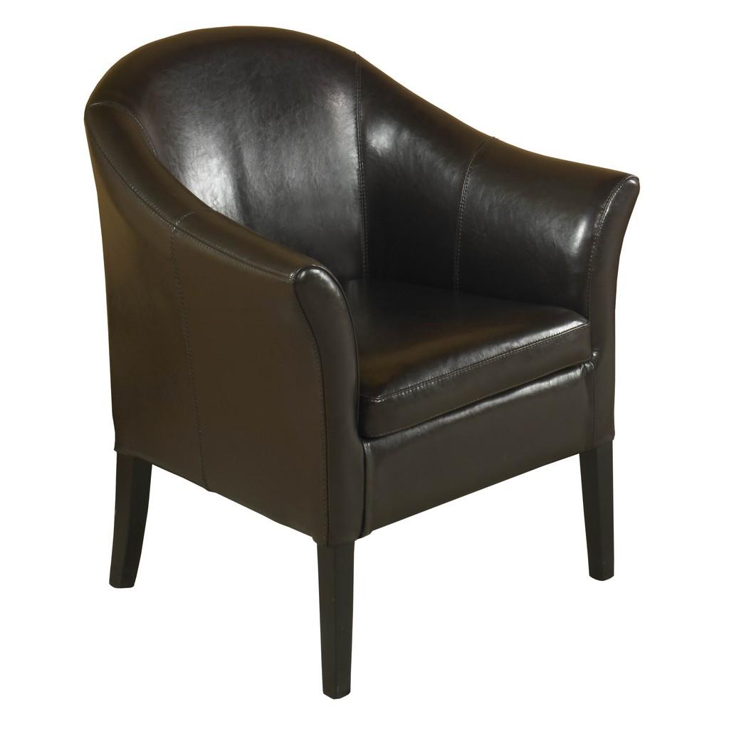 Armen Living 1404 Brown Leather Club Chair - Armen Living LCMC001CLBC