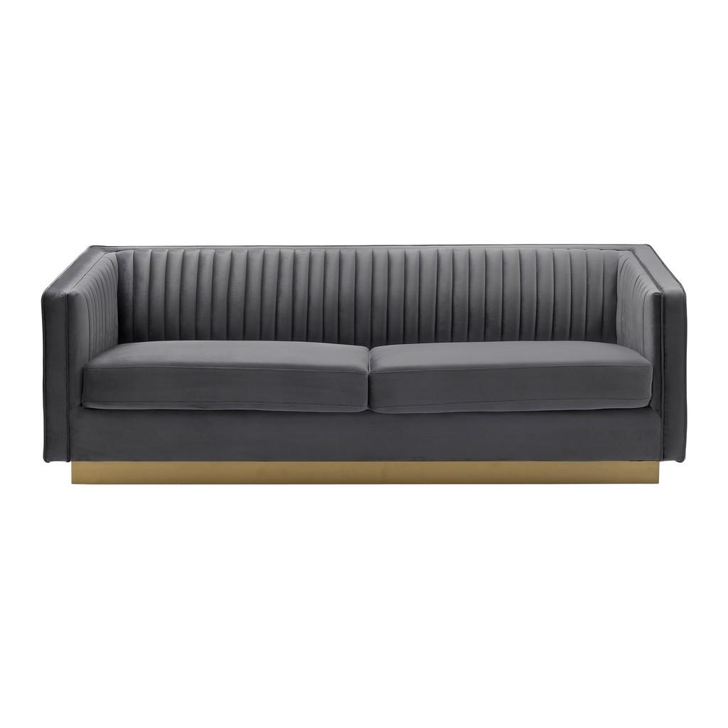Armen Living Miranda Dark Grey Velvet and Gold Sofa - LCMR3GREY