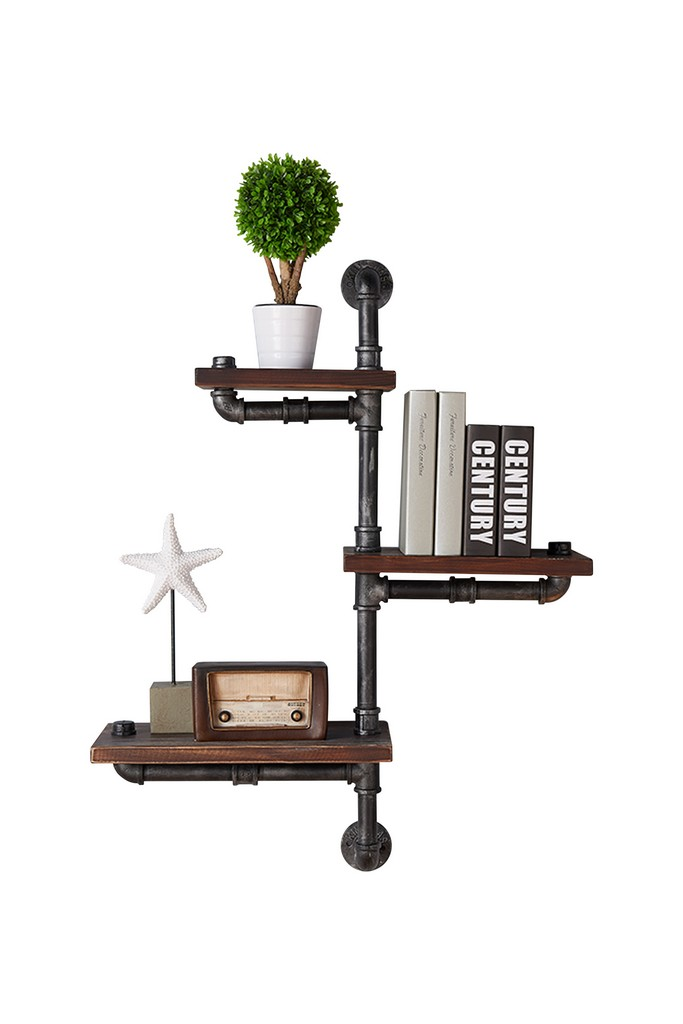 "Armen Living 30"" Orton Industrial Pine Wood Floating Wall Shelf in Gray and Walnut Finish - Armen Living LCORSH30"