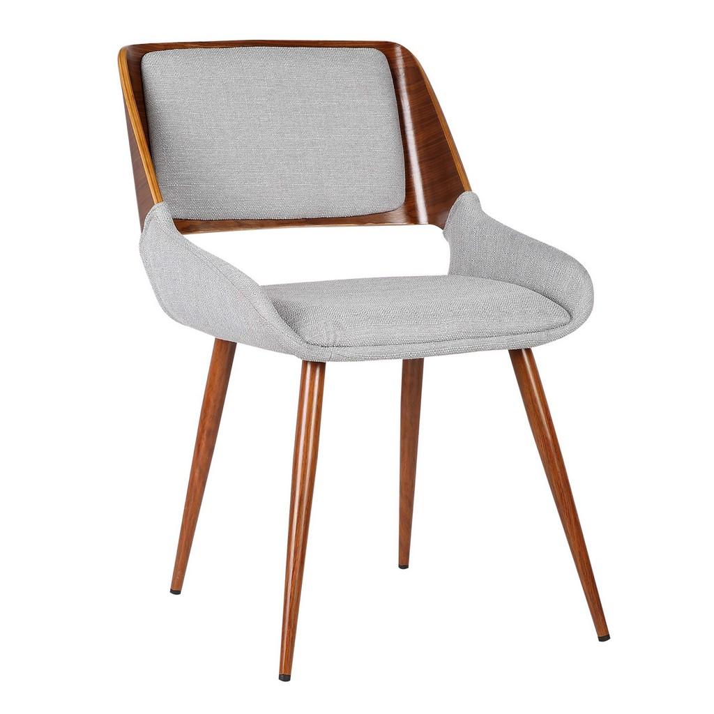 Armen Living Panda Mid-Century Dining Chair Walnut Finish and Gray Fabric - Armen Living LCPNSIWAGRAY