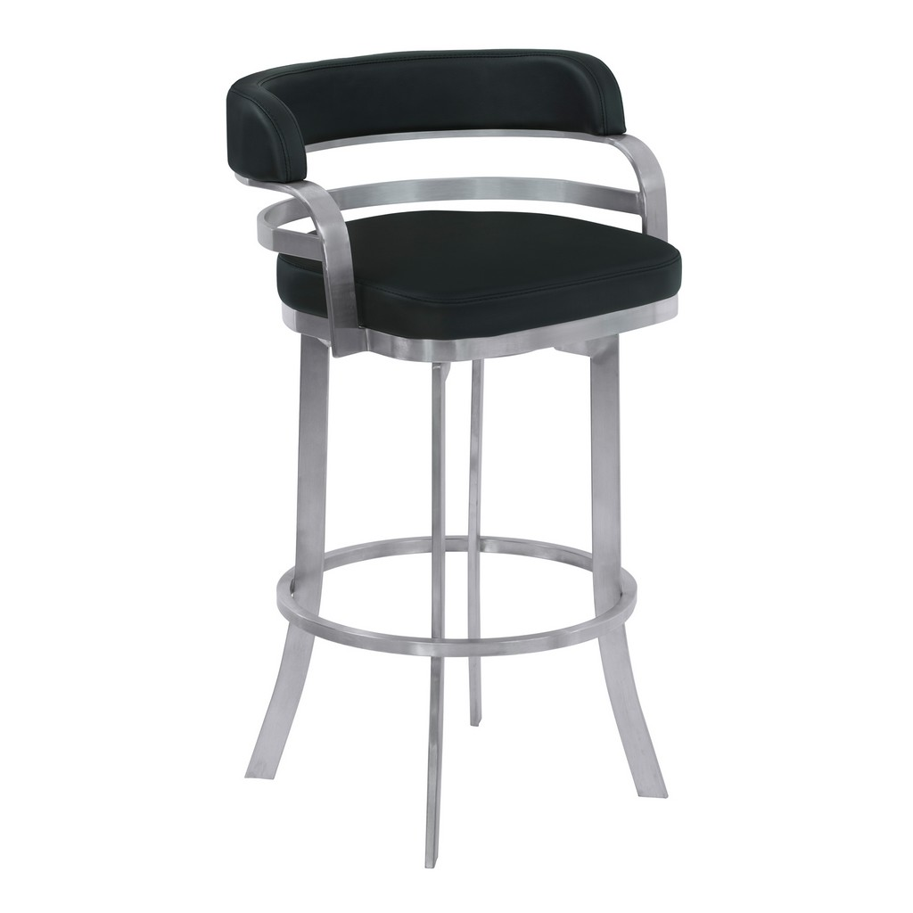 """Armen Living Prinz 30"""" Bar Height Metal Swivel Barstool in Black Faux Leather with Brushed Stainless Steel Finish - Armen Living LCPRBABLBS30"""