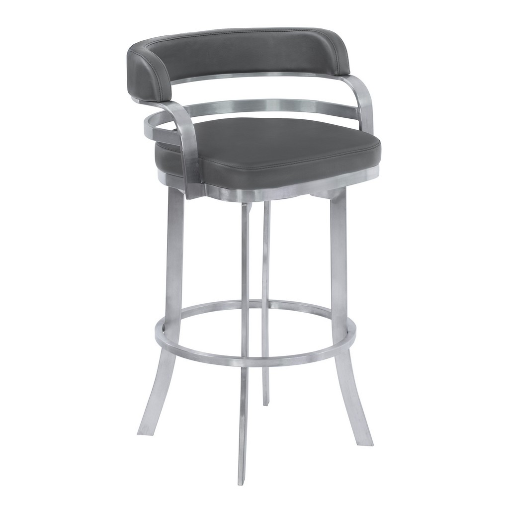 """Armen Living Prinz 26"""" Counter Height Metal Swivel Barstool in Gray Faux Leather with Brushed Stainless Steel Finish - Armen Living LCPRBAGRBS26"""