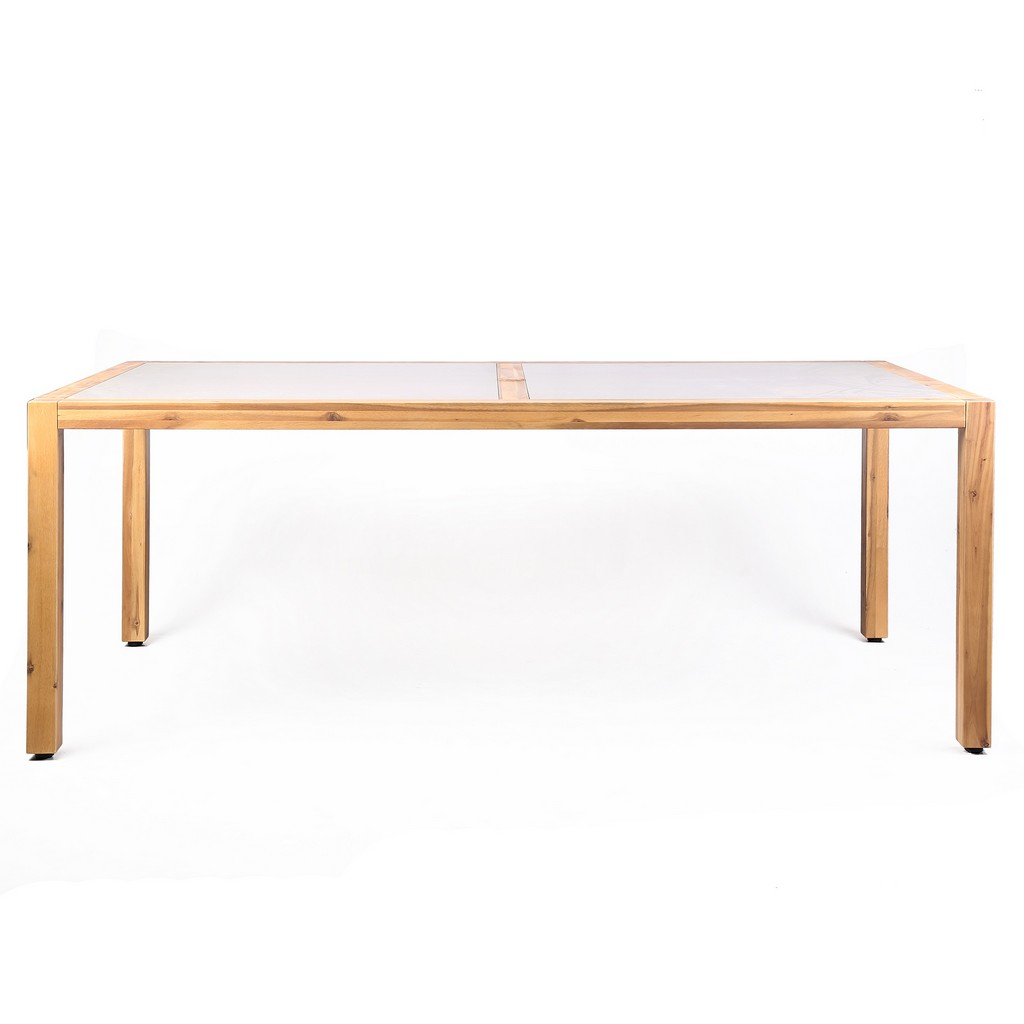 Outdoor Eucalyptus Dining Table Teak Stone Top