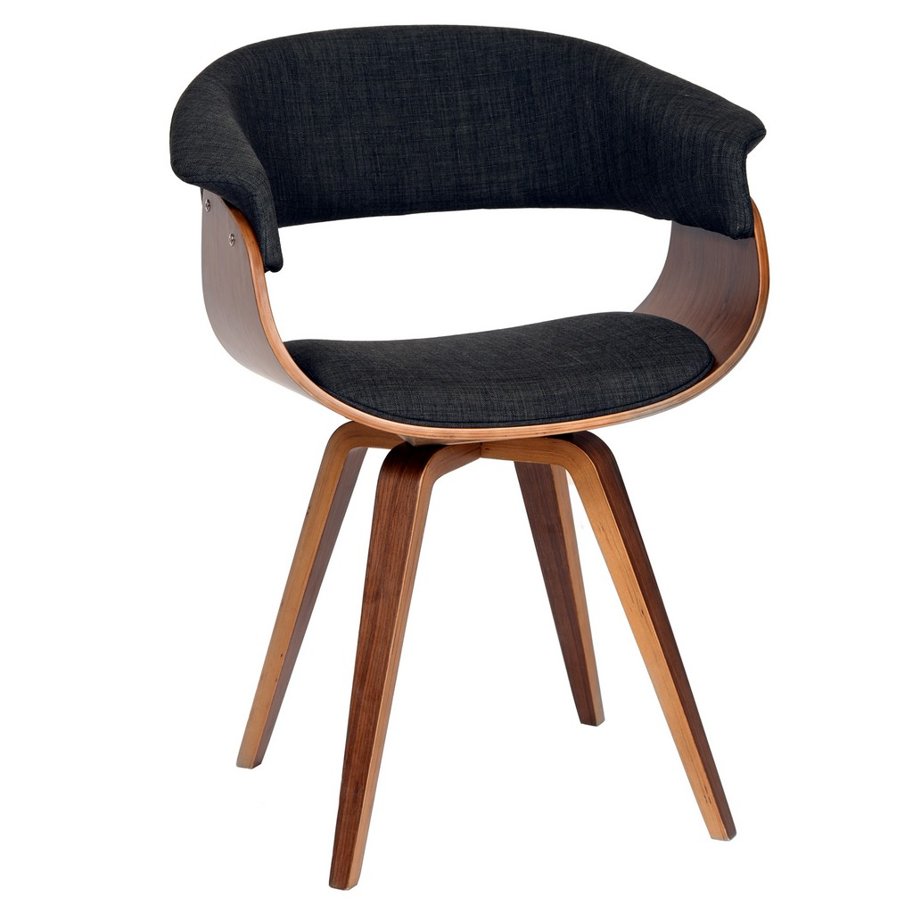 Armen Living Summer Modern Chair In Charcoal Fabric and Walnut Wood - Armen Living LCSUCHWACH