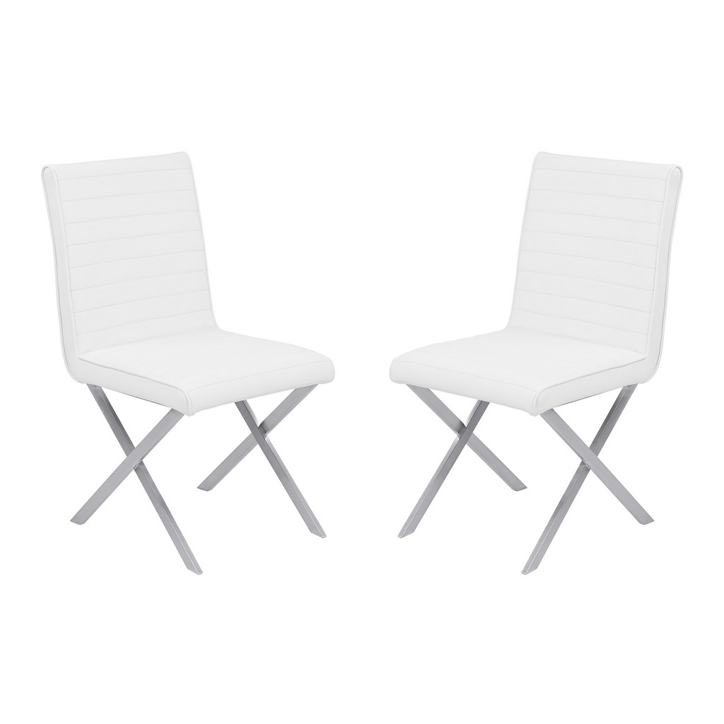 Armen Living Tempe Contemporary Dining Chair in White Faux Leather with Brushed Stainless Steel Finish - Set of 2 - Armen Living LCTESIWHBS