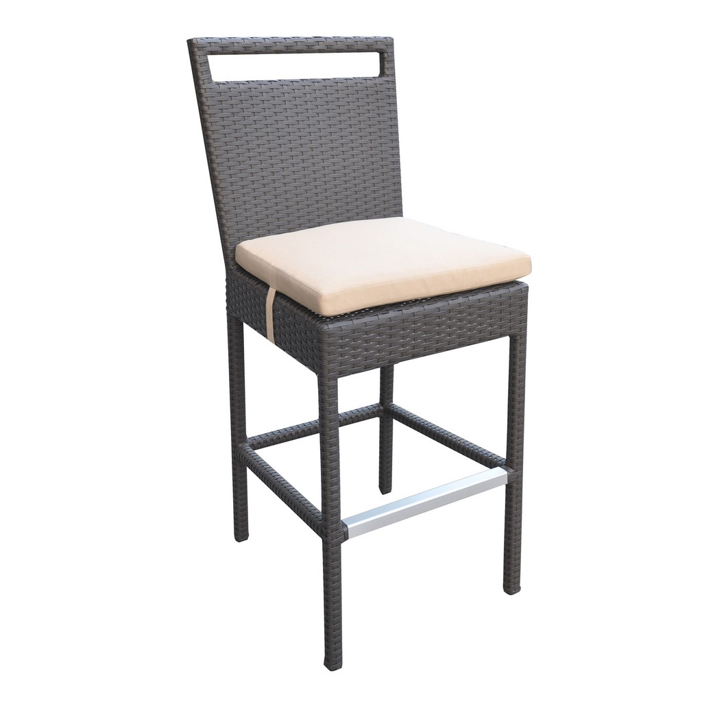 Armen Living Tropez Outdoor Patio Wicker Barstool with Water Resistant Beige Fabric Cushions - Armen Living LCTRBABE