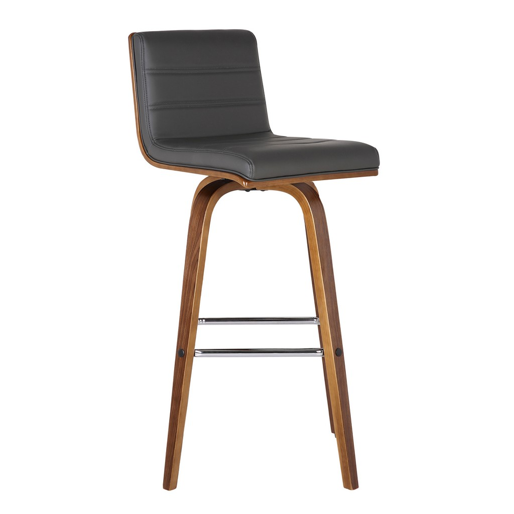 """Armen Living Vienna 30"""" Bar Height Barstool in Walnut Wood Finish with Grey Faux Leather - Armen Living LCVIBAGRWA30"""