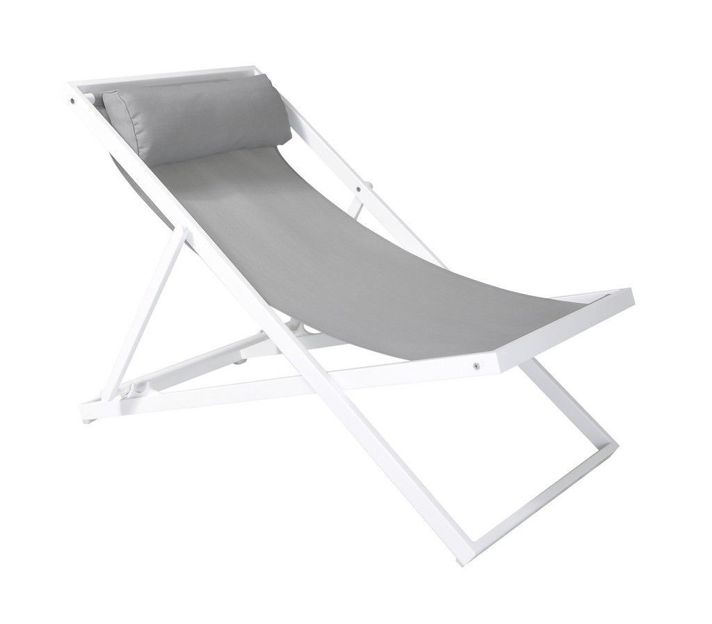 Armen Living Wave Outdoor Patio Aluminum Deck Chair in White Powder Coated Finish with Grey Sling Textilene - Armen Living LCWALOWH