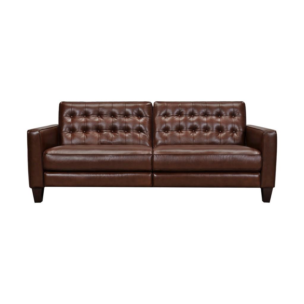 Armen Living Wesley Chestnut Genuine Leather Power Reclining Tuxedo Arm Sofa